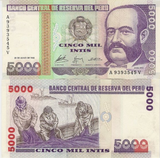 Peru banknote 1988 5000 intis UNC