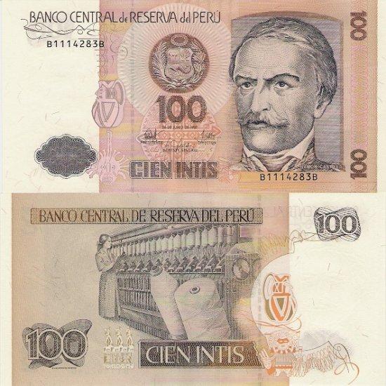 Peru banknote 1987 100 intis UNC