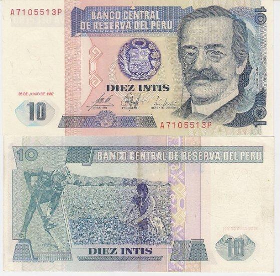 Peru banknote 1987 10 intis UNC