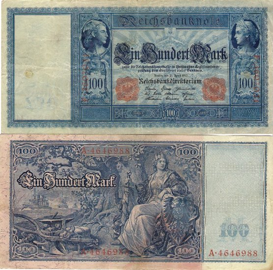 Germany OLD banknote 1910 100 mark gVF LARGE AND NICE