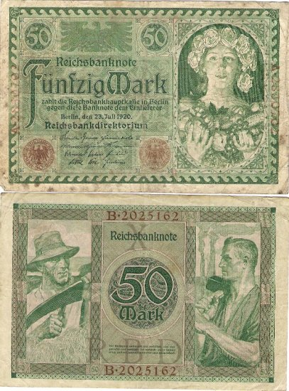 Germany OLD banknote 1920 50 mark gF
