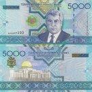 Turkmenistan banknote 2005 5000 manat foxing aUNC