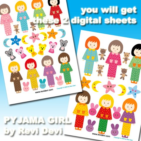 PYJAMA GIRL cut out PRINTABLE DESIGN 16036. Send to your email in PDF