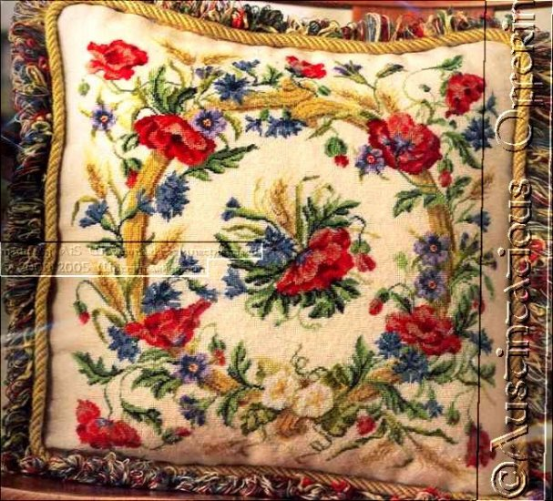 VICTORIAN FLORAL NEEDLEPOINT PILLOW KIT POPPIES WREATH