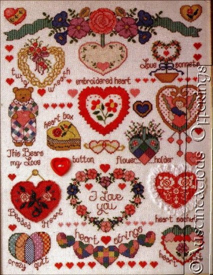 BEADS & BUTTONS HEART SAMPLER CROSS STITCH KIT ANGEL TEDDY BEAR