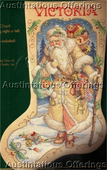 RARE ORIGINAL VICTORIAN SANTA CROSS STITCH STOCKING KIT