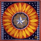 PATRIOTIC PRIMITIVE FOLK ART AMERICANA STAR SUNFLOWER NEEDLEPOINT KIT BRUMFIELD