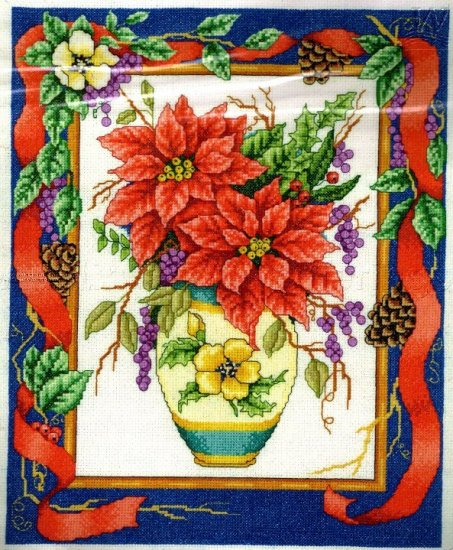 WINTER POINSETTIA BOUQUET CROSS STITCH KIT GARLAND VASE HOLIDAY
