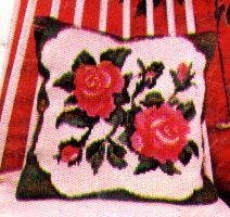 RARE LARGE COUNT FLORAL PILLOW NEEDLEPOINT CROSS STITCH  KIT ROSES SHABBY CHIC