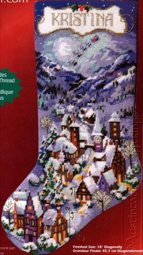 ROSSI SNOWY WINTER VILLAGE NEEDLEPOINT CHRISTMAS STOCKING KIT
