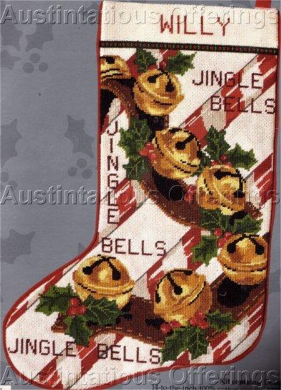 RARE HOLIDAY REINDEER JINGLEBELLS NEEDLEPOINT CHRISTMAS STOCKING KIT