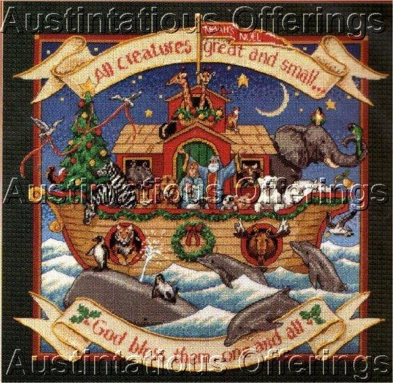 RARE HIMSWORTH NOAHS ARK CHRISTMAS NEEDLEPOINT PILLOW/PICTURE KIT DOLPHINS WHALES PENGUINS