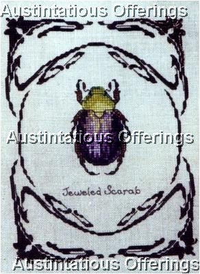RARE INSECT STUDY TERRY NOLAN CROSS STITCH KIT JEWELED SCARAB