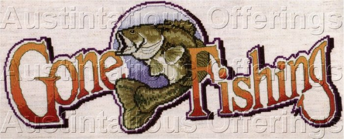 FISHING CABIN DECOR COUNTED CROSS STITCH SIGN KIT BASS