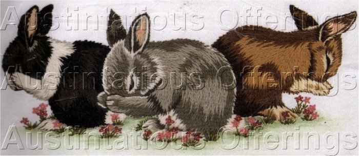 RARE BUNNY TRIO CREWEL EMBROIDERY KIT EASTER RABBITS