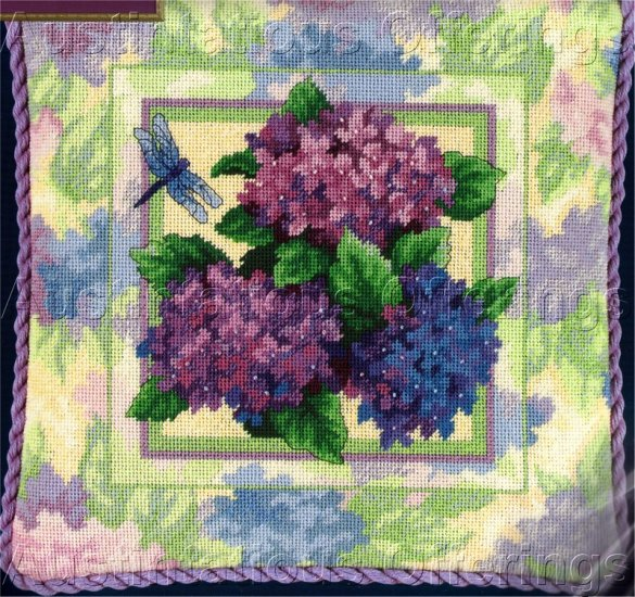 RARE PASTEL FLORAL NEEDLEPOINT PILLOW KIT HYDRANGEA DRAGONFLY