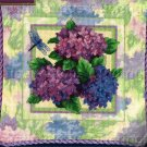 HARD TO FIND PASTEL FLORAL NEEDLEPOINT PILLOW KIT HYDRANGEA DRAGONFLY