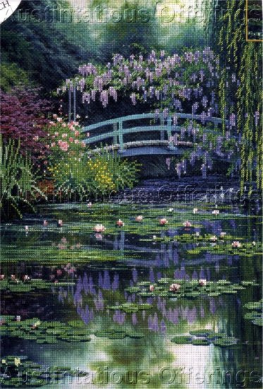 IMPRESSIONIST EMBELLISHED CROSS STITCH KIT MONET BRIDGE
