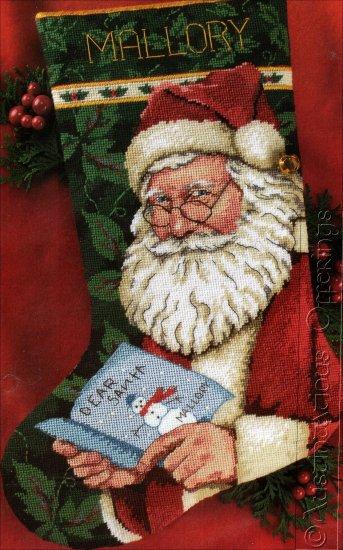 RARE  ROSCHE SANTA LETTER NEEDLEPOINT CHRISTMAS STOCKING KIT