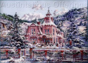 RARE MARTY  BELL VICTORIAN MANSION CROSS STITCH KIT CHRISTMAS HOME