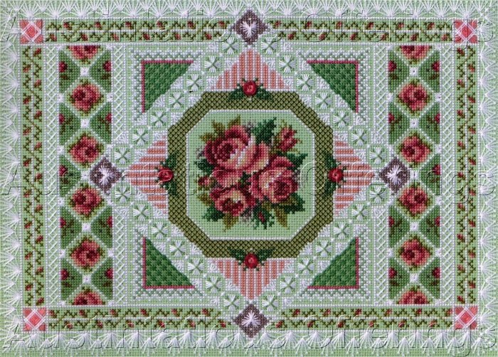 SANDY ORTON ROSES CROSS STITCH GARDEN SAMPLER KIT VARIETY STITCHES