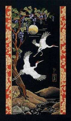 BLACK BACKGROUND ORIENTAL WHOOPING CRANES CROSS STITCH KIT