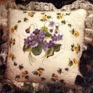 RARE SPRING VIOLETS & YELLOW ROSES CANDLEWICKING EMBROIDERY KIT