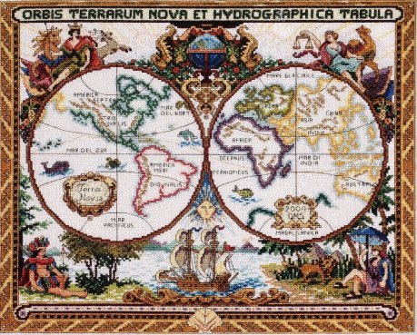 RARE FIND EXPLORER MAP CROSS STITCH KIT OLDE WORLD