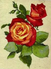 HARD TO FIND BROADWAY RED ROSE COUNTED CROSS STITCH KIT