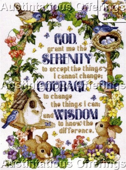 SERENITY PRAYER INSPIRATIONAL GARDEN SAMPLER CROSS STITCH KIT
