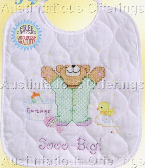 BABY BIB STAMPED CROSS STITCH KIT TEDDY BEAR SO BIG