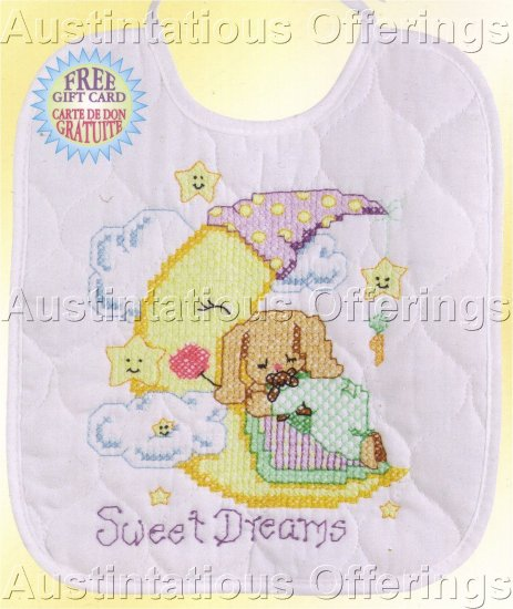 STAMPED CROSS STITCH KIT BABY BIB BUNNY