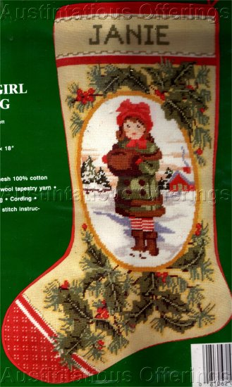 RARE CHILD PORTRAIT MINIATURE NEEDLEPOINT STOCKING KIT GIRL WITH HAT AND FUR MUFF