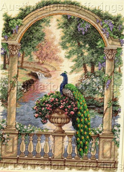HARD TO FIND LENA LIU EXQUISITE PEACOCK MAJESTY FLORAL ARBOR CROSS STITCH KIT
