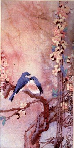 RARE LENA LIU BLUEBIRD FLORAL CREWEL EMBROIDERY KIT