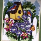 RARE PETERSON BLUEBIRD HOUSE COTTAGE GARDEN FENCE NEEDLEPOINT KIT