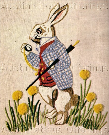 RARE ALICE IN WONDERLAND TIMELY RABBIT CREWEL EMBROIDERY KIT