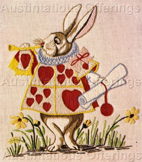 RARE ALICE IN WONDERLAND WHITE RABBIT HERALD CREWEL EMBROIDERY KIT