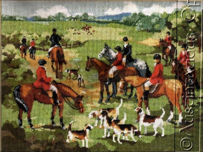 RARE RIDING TO HOUNDS FOX HUNT NEEDLEPOINT KIT GILLUM