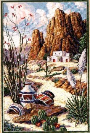 SOUTHWEST CROSS STITCH KIT ADOBE CACTUS POTTERY YUCCA PLANTS