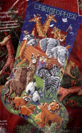 RARE NOAHS ARK NEEDLEPOINT STOCKING KIT RED PANDA LLAMA