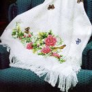 OPEN STOCK CROSS STITCH AFGHAN LINEN COLORED PEONY CHART