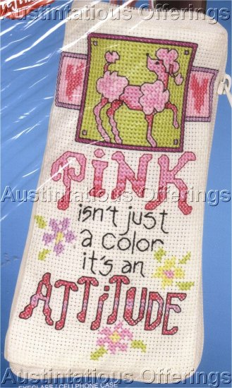 PINK FASHION ATTITUDE COUNTED CROSS STITCH KIT EYEGLASS /CELLPHONE CASE