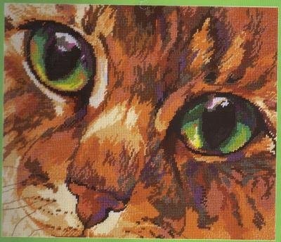 RARE ROSSI MESMERIZING GREEN CAT EYES NEEDLEPOINT/PILLOW KIT DRAMATIC FELINE