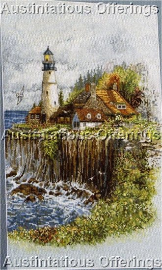 LIGHTHOUSE CLIFFSIDE COTTAGE NAUTICAL CROSS STITCH KIT ON EVENWEAVE