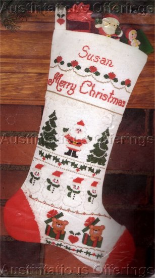 SANTA CLAUS CHRISTMAS SAMPLER STOCKING CROSS STITCH KIT
