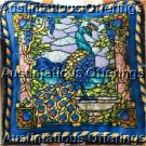 RARE HANNER STAINED GLASS WINDOW NEEDLEPOINT KIT PEACOCK