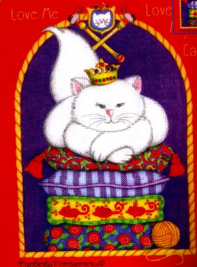 EMBELLISHED CROSS STITCH KIT FLUFFY WHITE CAT ON PILLOWS
