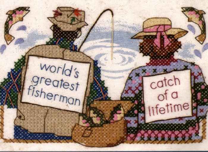 FISHING STAMPED CROSS STITCH KIT  WORLDS GREATEST CATCH