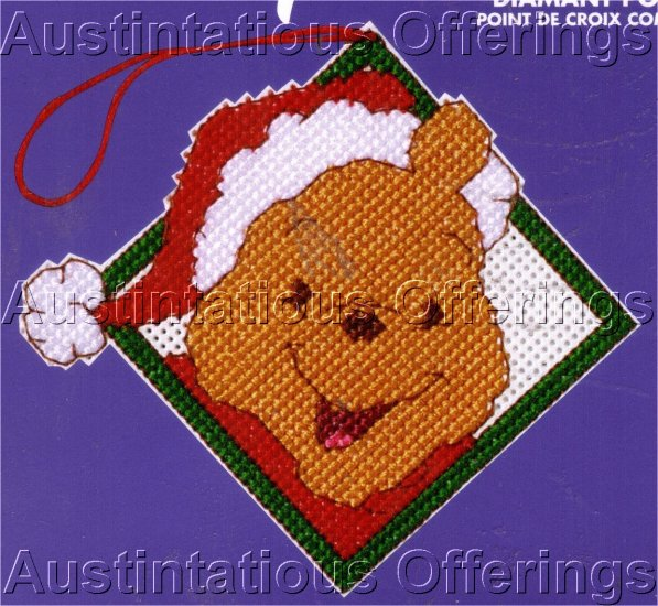 WINNIE POOH SANTA HAT CROSS STITCH KIT CHRISTMAS ORNAMENT